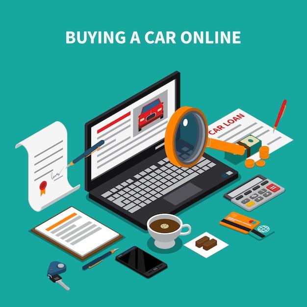 Composição isométrica de concessionária de carros com papéis de elementos de texto e desktop e laptop com loja de automóveis on-line Vetor grátis