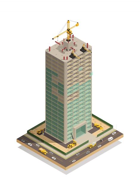 Composição isométrica de construção de arranha-céu Vetor grátis