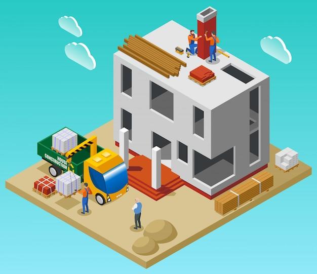 Composição isométrica de construção de casa com equipe de construtores, descarregando materiais de construção com guindaste perto de ilustração vetorial de edifício inacabado Vetor grátis