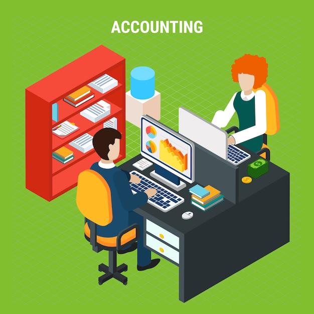 Composição isométrica de contabilidade bancária Vetor grátis