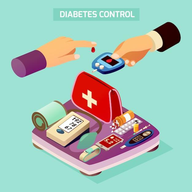 Composição isométrica de controle de diabetes Vetor grátis