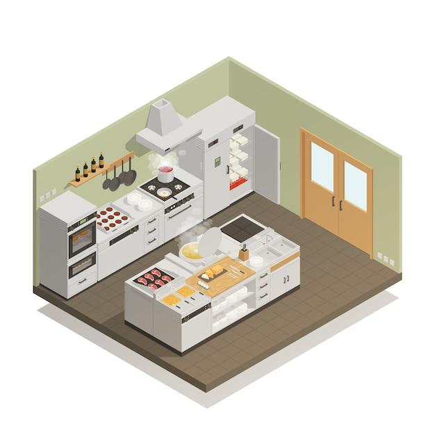 Composição isométrica de cozinha Vetor grátis