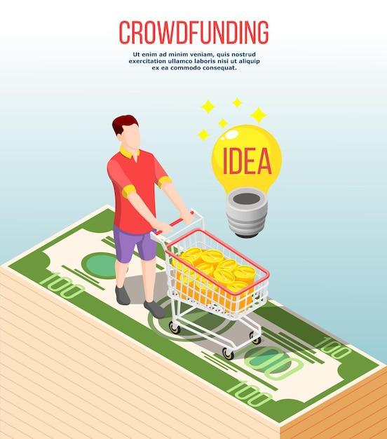 Composição isométrica de crowdfunding com ideia de sucesso, homem com carrinho cheio de dinheiro Vetor grátis