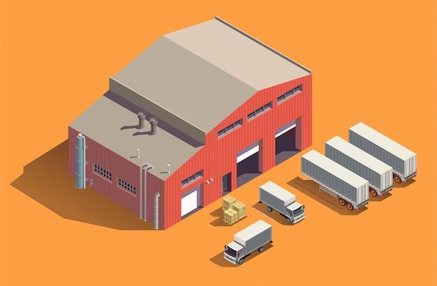 Composição isométrica de edifícios industriais com galpão de armazenamento de tecido e conjunto de caminhões com recipientes e caixas Vetor grátis