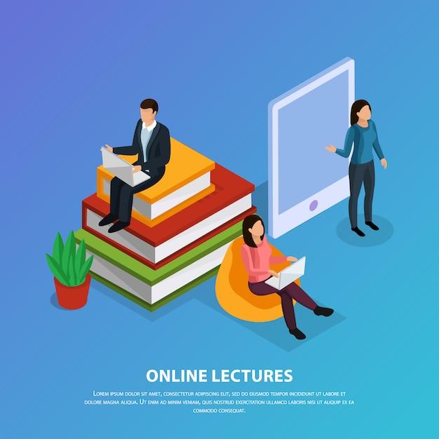 Composição isométrica de educação on-line com professor e alunos durante palestra na web em azul Vetor grátis