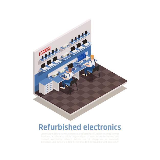 Composição isométrica de eletrônicos recondicionados com dois caracteres masculinos, reparando computadores e smartphones no centro de garantia Vetor grátis