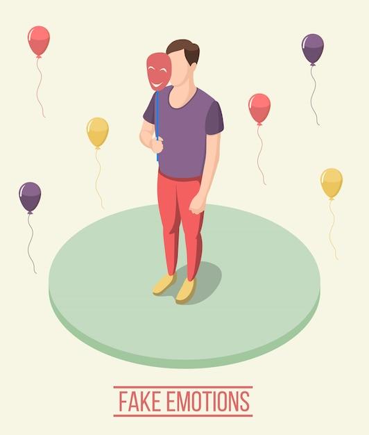 Composição isométrica de emoções falsas Vetor grátis