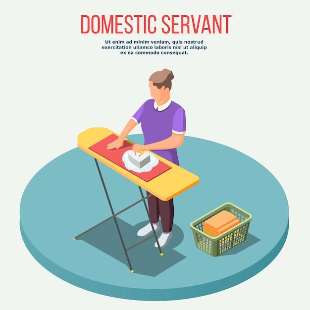 Composição isométrica de empregada doméstica Vetor grátis