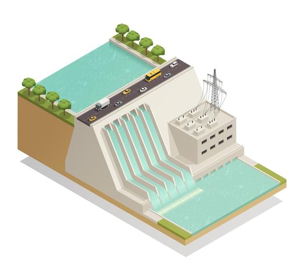 Composição isométrica de energia hidrelétrica verde Vetor grátis