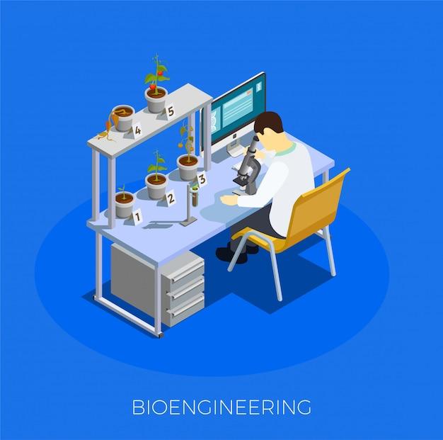 Composição isométrica de engenharia biológica de ogm Vetor grátis