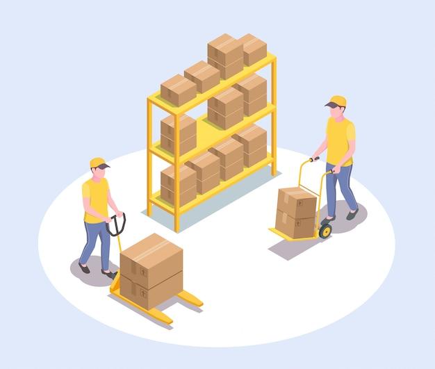 Composição isométrica de entrega logística de entrega com caracteres humanos sem rosto de dois trabalhadores do sexo masculino e ilustração de rack de encomendas Vetor grátis