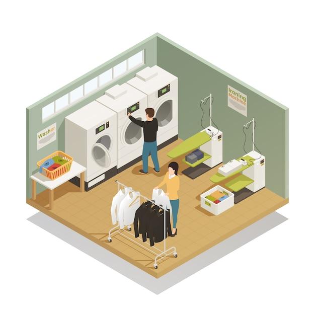 Composição isométrica de equipamento de lavanderia Vetor grátis