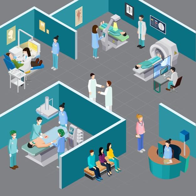 Composição isométrica de equipamento médico com caracteres humanos de profissionais de saúde e pacientes em vários quartos de hospital vector a ilustração Vetor grátis