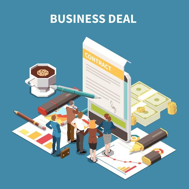 Composição isométrica de estratégia de negócios com a descrição do acordo de negócios e a ilustração da sessão de brainstorming de equipe Vetor grátis