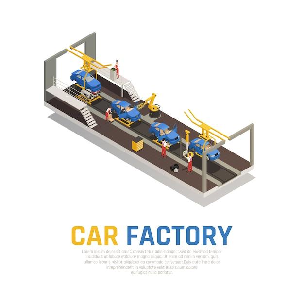 Composição isométrica de fábrica de carro Vetor grátis