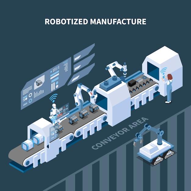Composição isométrica de fabricação robotizada com elementos de interface de equipamento robótico de transportadora automatizada do painel de controle Vetor grátis