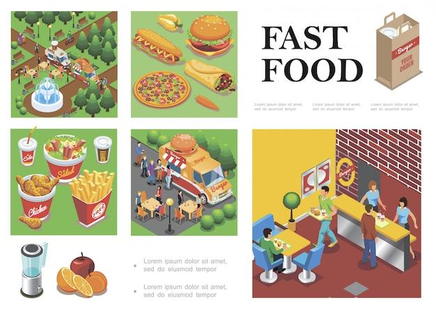 Composição isométrica de fast-food com caminhões de comida de rua fastfood restaurante frutas legumes hambúrguer pizza doner cachorro-quente cola salada de café batatas fritas Vetor grátis
