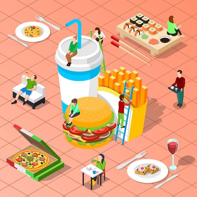 Composição isométrica de fast-food Vetor grátis