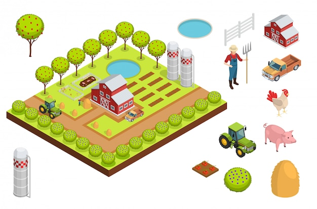 Composição isométrica de fazenda Vetor grátis