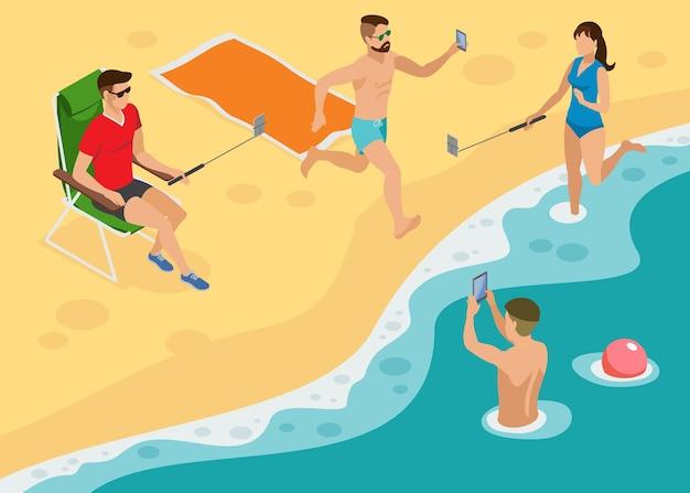 Composição isométrica de foto social com jovens na praia de south marine fazendo selfie por monopés e smartphones Vetor grátis