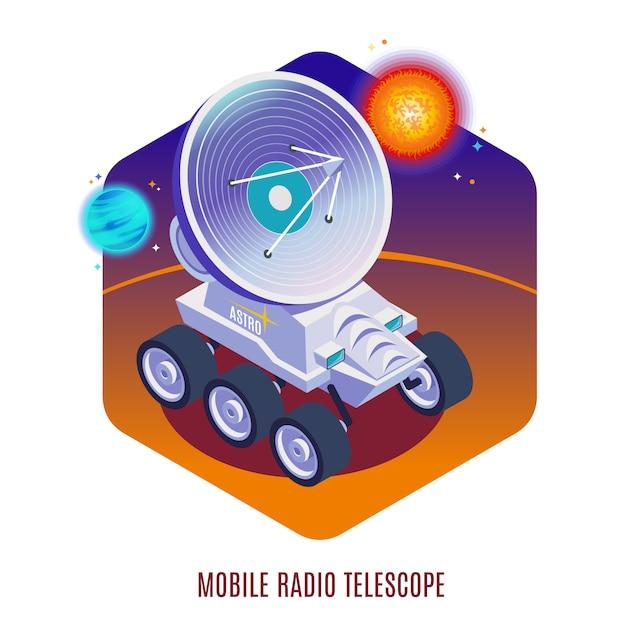 Composição isométrica de fundo de tecnologia aeroespacial astrofísica com telescópio de rádio móvel montado em ilustração de rover todo terreno Vetor grátis