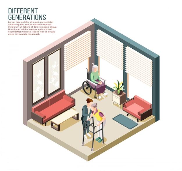 Composição isométrica de gerações diferentes com pessoa do sexo feminino adulto cuidando de mulheres com deficiência idosas na ilustração do lar de idosos Vetor grátis