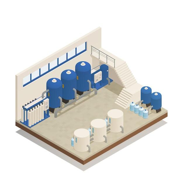 Composição isométrica de instalações de limpeza de água Vetor grátis