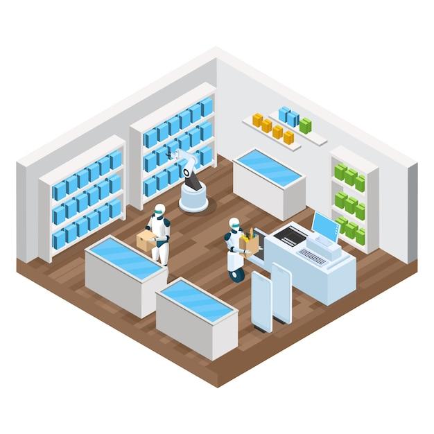 Composição isométrica de loja automatizada com mercadorias de robôs nas prateleiras Vetor grátis
