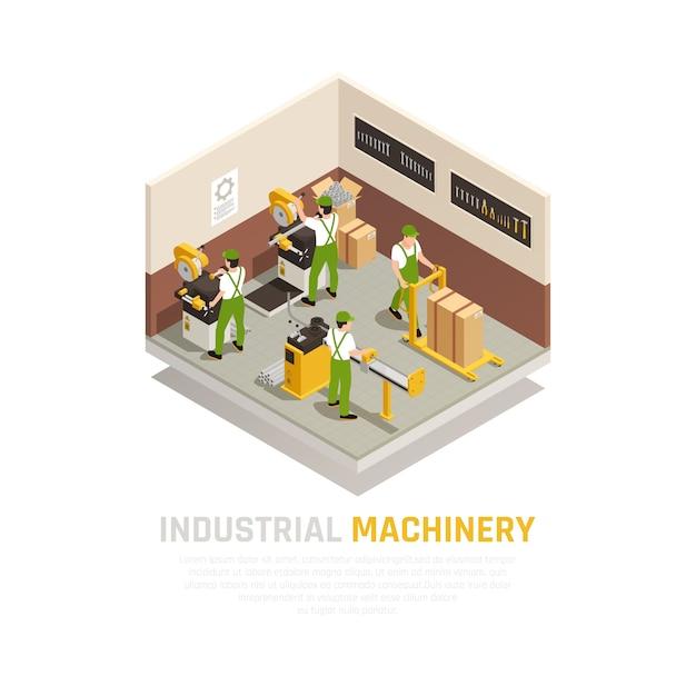 Composição isométrica de máquinas industriais com símbolos de trabalhadores de fábrica Vetor grátis