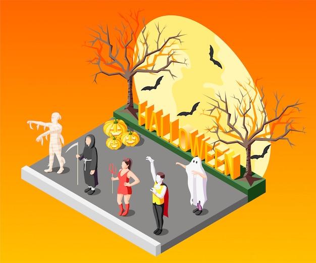 Composição isométrica de mascarada de halloween com pessoas em trajes assustadores na laranja com morcegos e árvores nuas 3d Vetor grátis