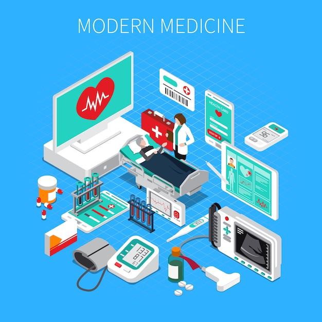 Composição isométrica de medicina moderna com dispositivos médicos de médico e paciente Vetor grátis