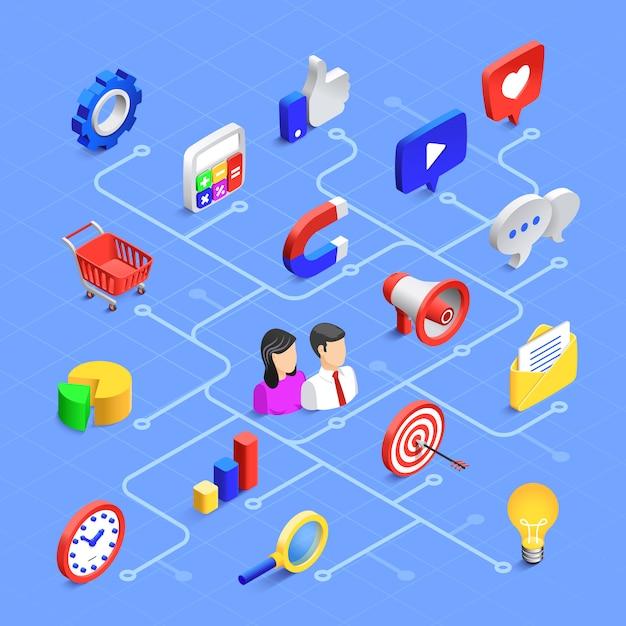 Composição isométrica de mídia social. comunicação de marketing digital, conteúdo multimídia ou compartilhamento de informações. Vetor Premium