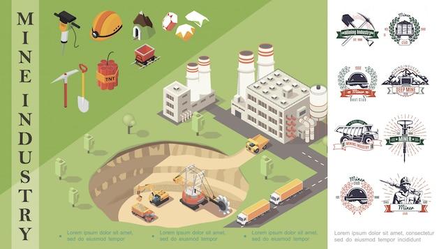Composição isométrica de mineração com máquinas industriais em pedreira perto de capacete de minerador de fábrica pedras preciosas dinamite carrinho broca pá picareta emblemas da indústria de mina Vetor grátis