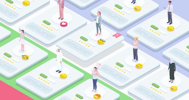 Composição isométrica de pessoas da sociedade com imagens conceituais de folhas de trabalho interativas com personagens humanos e emoticons vector a ilustração Vetor grátis