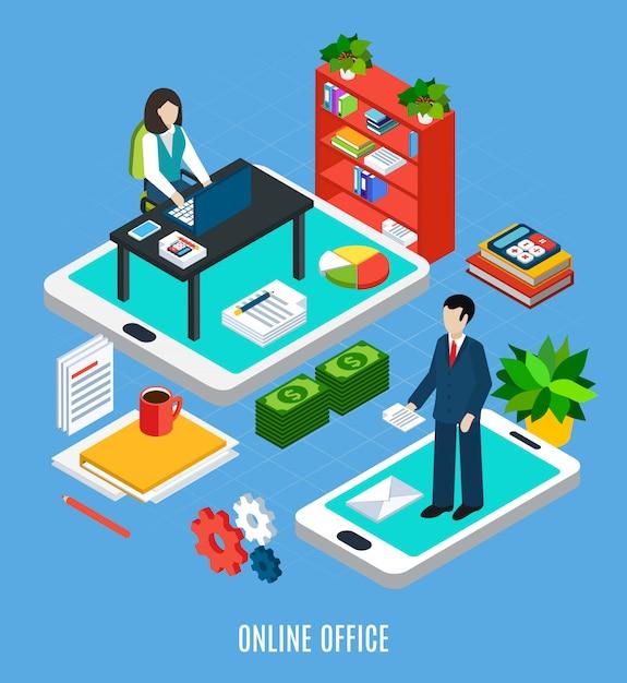 Composição isométrica de pessoas de negócios com imagens de móveis de escritório e trabalhadores em cima de ilustração em vetor touchscreen gadgets Vetor grátis