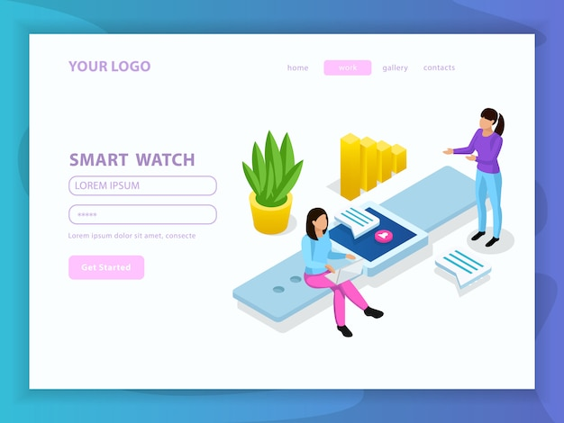 Composição isométrica de pessoas e interfaces com menu de botões de introdução e ilustração de manchete de relógio inteligente Vetor grátis