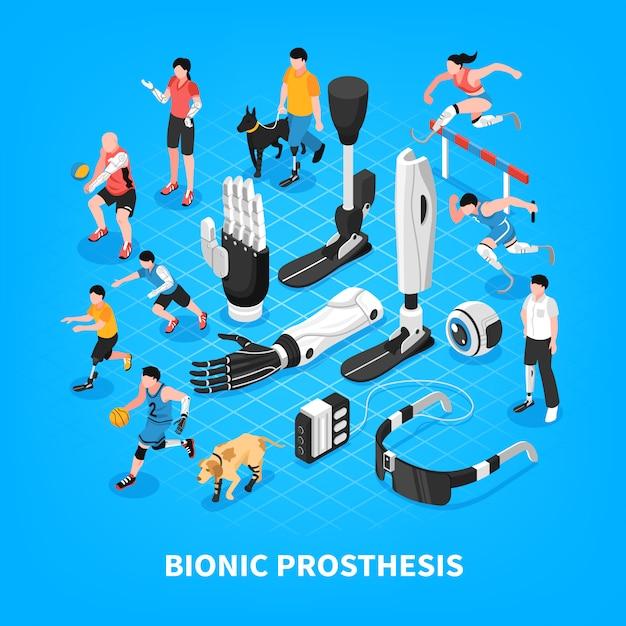 Composição isométrica de prótese biônica Vetor grátis