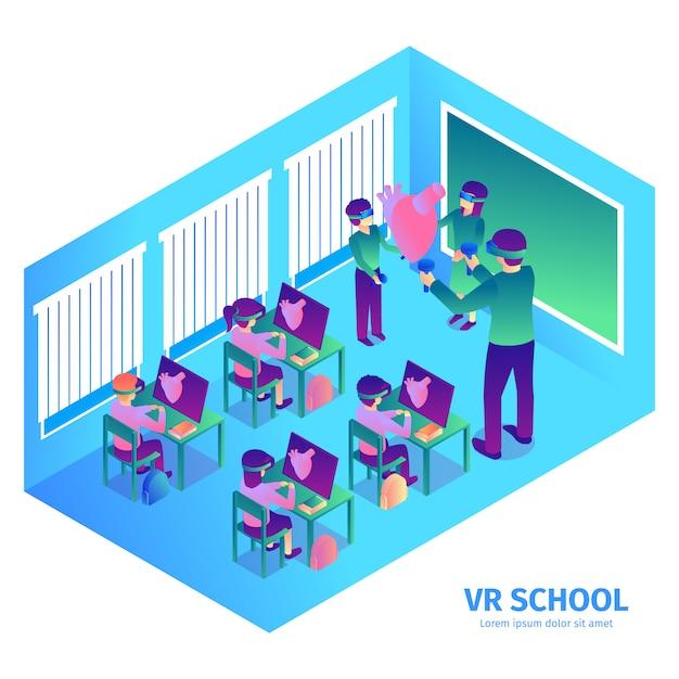 Composição isométrica de realidade virtual com texto e vista interna da sala de aula futurista com professor e crianças ilustração em vetor Vetor grátis