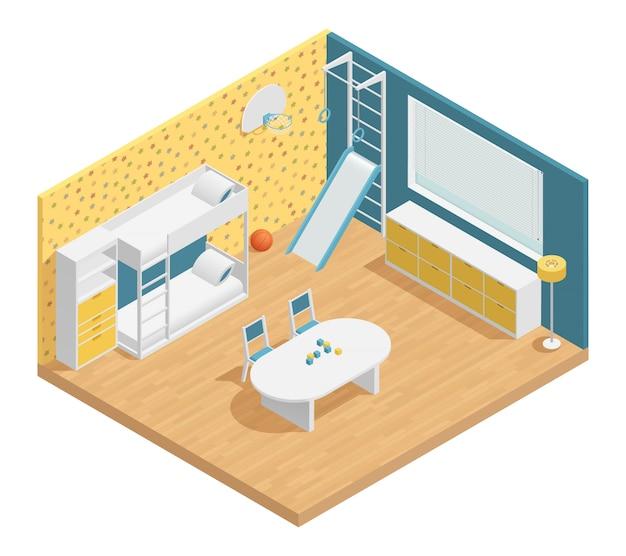 Composição isométrica de sala de crianças com gavetas de mesa e escada Vetor grátis