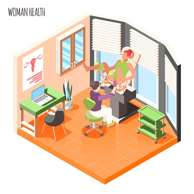 Composição isométrica de saúde da mulher com médico examina paciente do sexo feminino em ilustração vetorial de cadeira ginecológica Vetor grátis