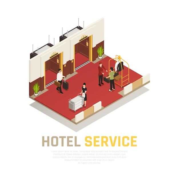 Composição isométrica de serviço de hotel com porteiro empregada e turistas na área de elevador com piso vermelho Vetor grátis