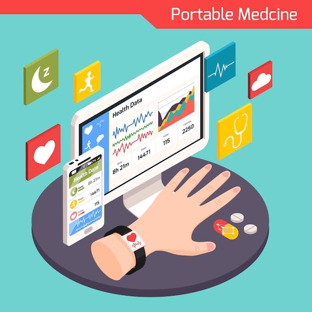 Composição isométrica de tecnologia médica moderna com dispositivos portáteis eletrônicos inteligentes conectados à ilustração do sistema virtual de cuidados de saúde Vetor grátis