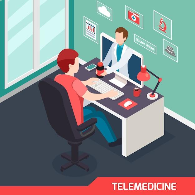 Composição isométrica de tecnologia médica moderna com serviço de telemedicina alternativa Vetor grátis