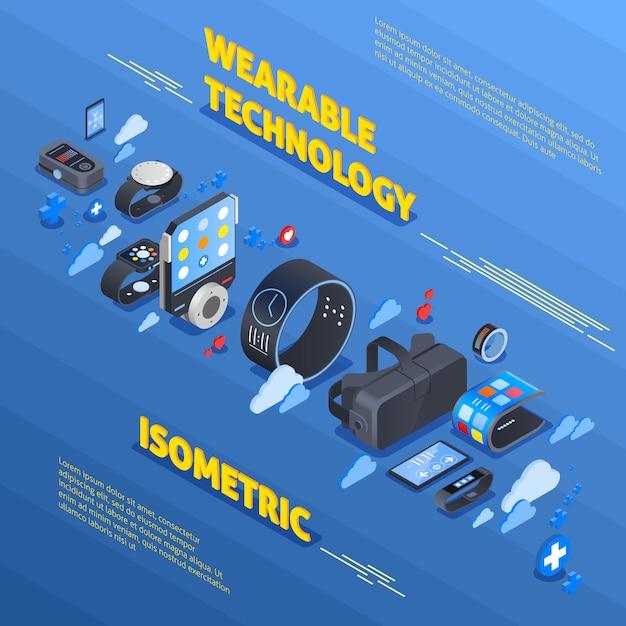 Composição isométrica de tecnologia wearable Vetor grátis