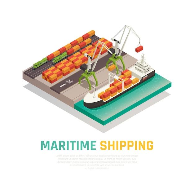 Composição isométrica de transporte marítimo Vetor grátis