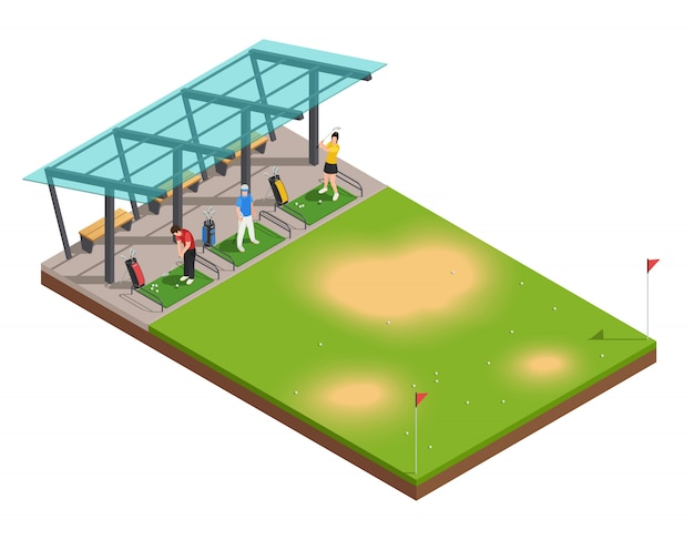 Composição isométrica de treinamento de golfe com instrutor e jogadores balançando putter sob dossel Vetor grátis