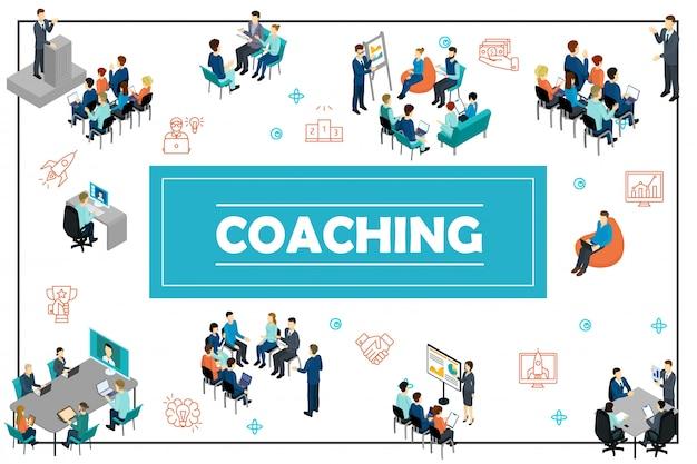 Composição isométrica de treinamento de negócios com discurso público equipe de conferência on-line coaching apresentação consultoria seminário de brainstorming Vetor Premium