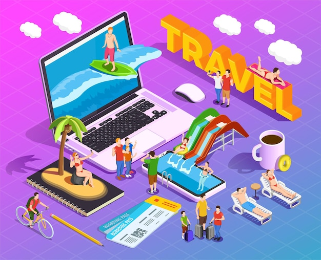 Composição isométrica de viagens em pessoas gradientes durante o entretenimento de férias em telas de dispositivos móveis Vetor grátis