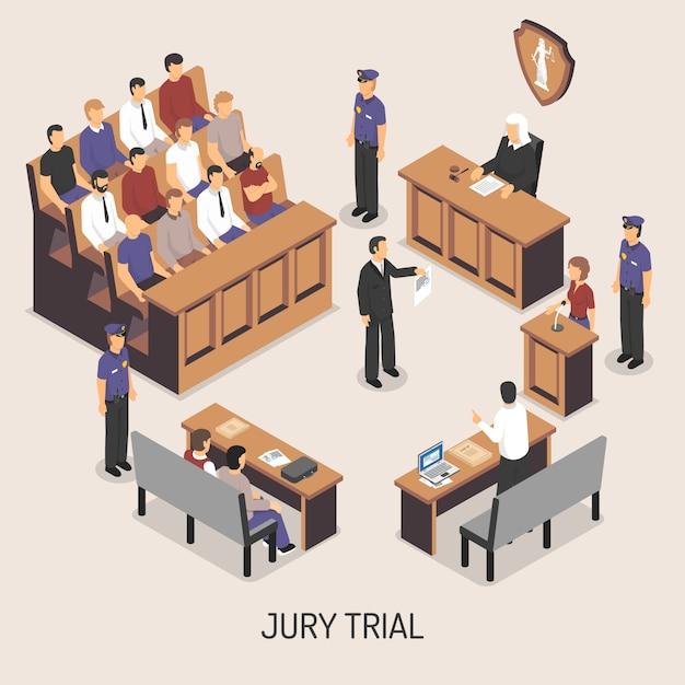 Composição isométrica do julgamento do júri Vetor grátis