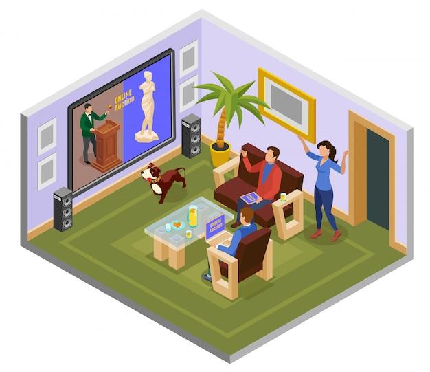 Composição isométrica do leilão com o homem no sofá em casa assistir ilustração online de leilão Vetor grátis